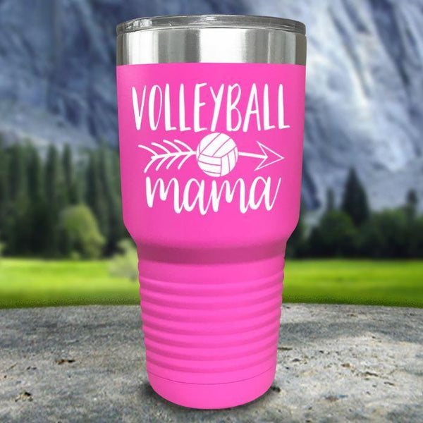 Volleyball Mama Color Printed Tumblers Tumbler Nocturnal Coatings 30oz Tumbler Pink