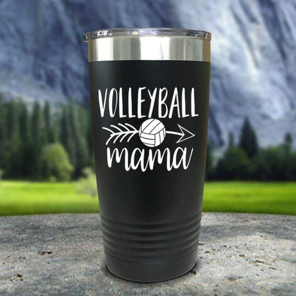 Volleyball Mama Color Printed Tumblers Tumbler Nocturnal Coatings 20oz Tumbler Black
