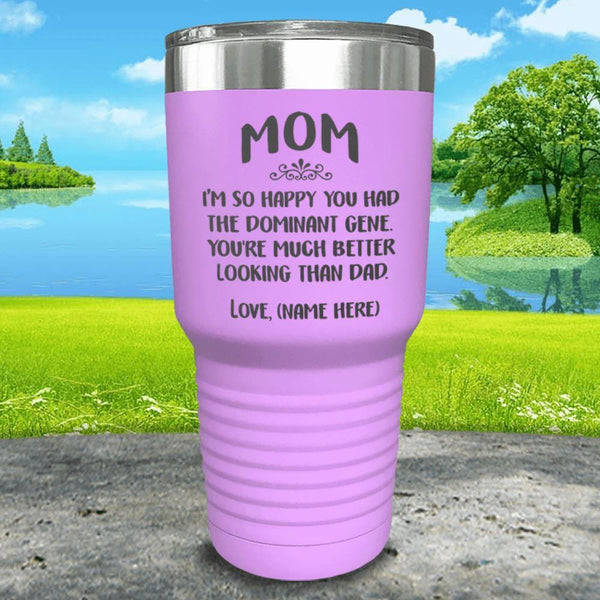 Mom Dominant Gene (CUSTOM) With Child's Name Engraved Tumbler Tumbler ZLAZER 30oz Tumbler Lavender