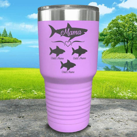 Mama Shark (CUSTOM) With Child's Name Engraved Tumblers Tumbler Southland 30oz Tumbler Lavender