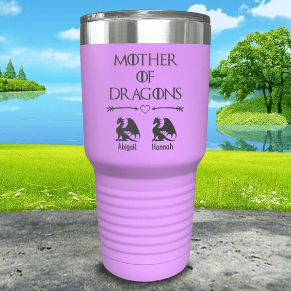 Mother Of Dragons (CUSTOM) With Child's Name Engraved Tumblers Tumbler ZLAZER 30oz Tumbler Lavender