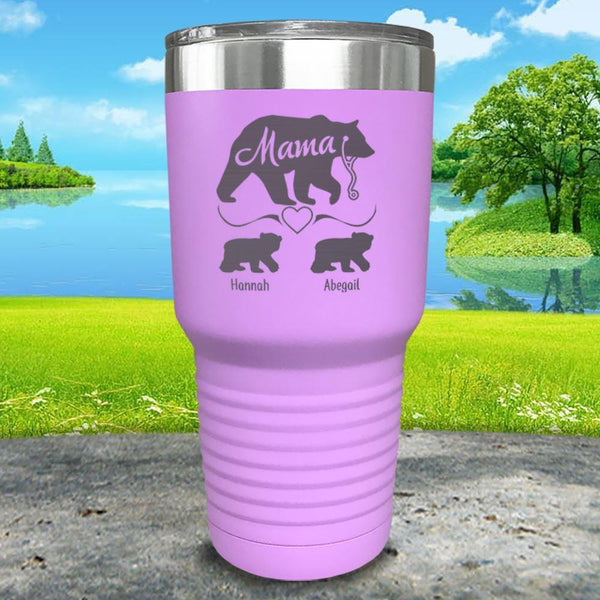 Mama Bear Nurse (CUSTOM) With Child's Name Engraved Tumblers Tumbler ZLAZER 30oz Tumbler Lavender
