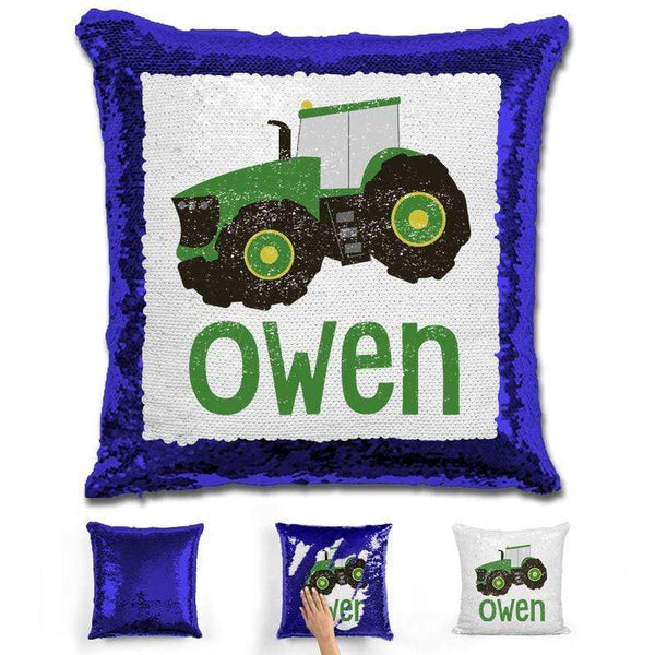 Tractor Personalized Magic Sequin Pillow Pillow GLAM Blue