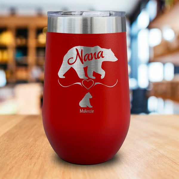 PERSONALIZED Grandparents Bear Engraved Wine Tumbler