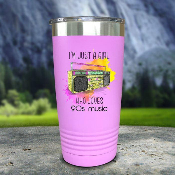 A Girl Who Loves 90s Music Color Printed Tumblers Tumbler Nocturnal Coatings 20oz Tumbler Lavender