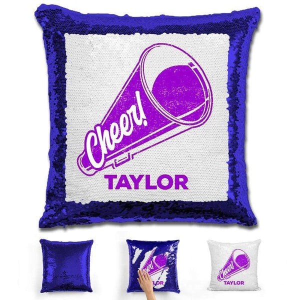 Cheerleader Personalized Magic Sequin Pillow Pillow GLAM Blue Purple