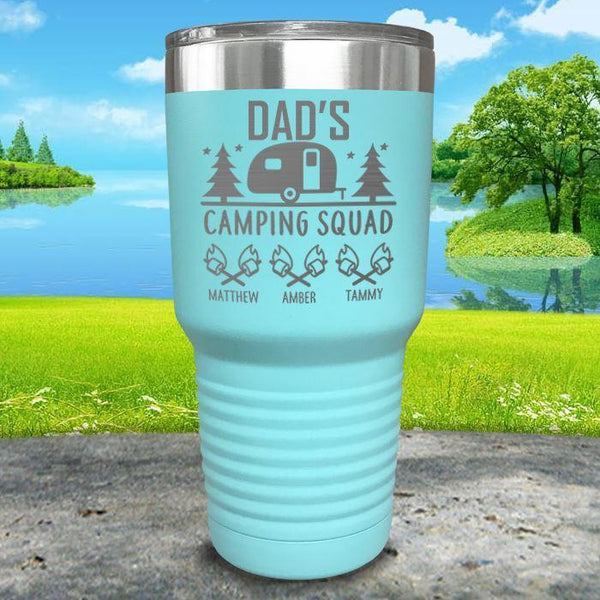 Dad's Camping Squad (CUSTOM) With Child's Name Engraved Tumblers Tumbler ZLAZER 30oz Tumbler Mint