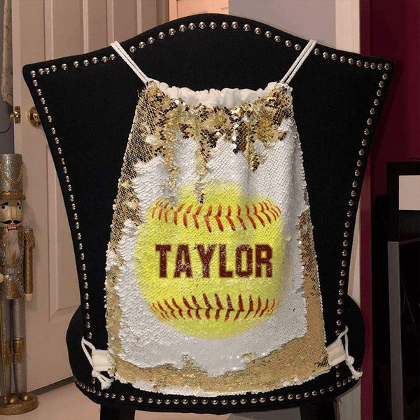 Softball Personalized Magic Sequin Backpacks Sequin Backpack BLINGZ Gold