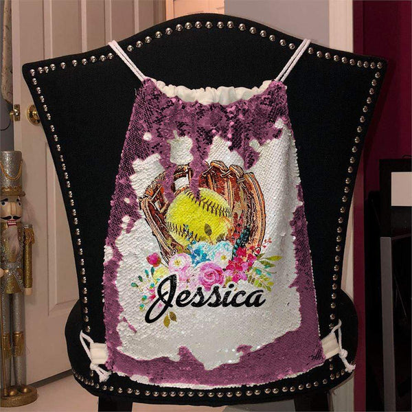 Softball Glove Personalized Magic Sequin Backpacks Sequin Backpack BLINGZ Pink