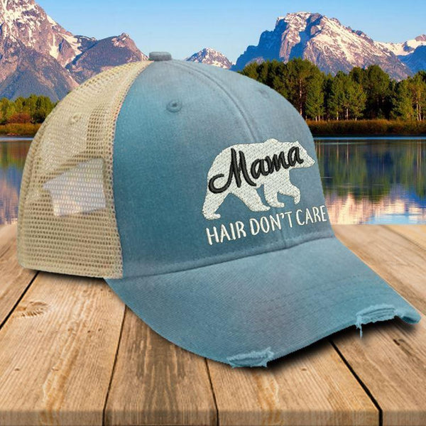 Mama Bear Hair Don't Care Premium Trucker Hat Hat Edge Teal