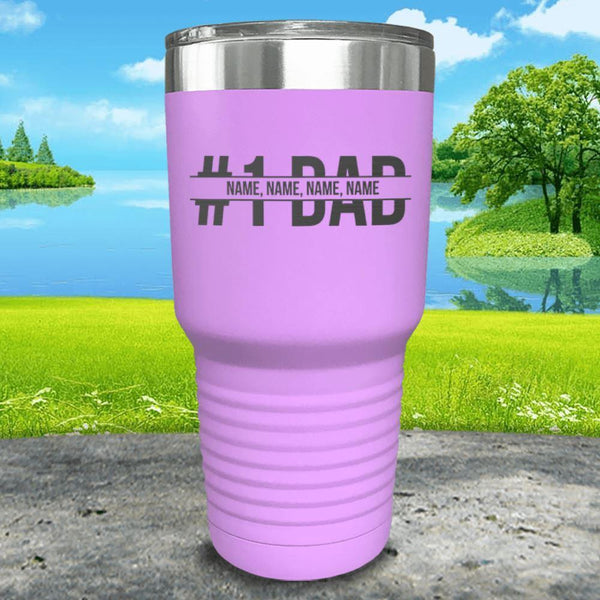 #1 Dad (CUSTOM) With Child's Name Engraved Tumbler Tumbler ZLAZER 30oz Tumbler Lavender