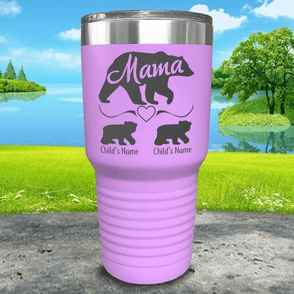 Mama Bear (CUSTOM) With Child's Name Engraved Tumblers Tumbler ZLAZER 30oz Tumbler Lavender