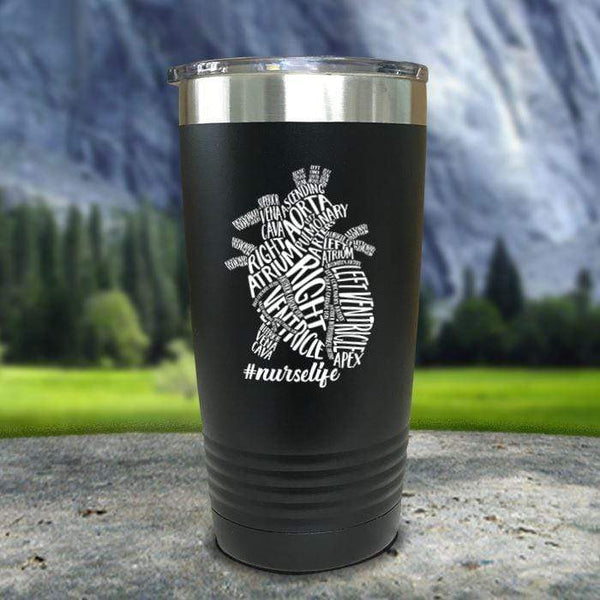 Nurse Descriptive Heart Color Printed Tumblers Tumbler Nocturnal Coatings 20oz Tumbler Black