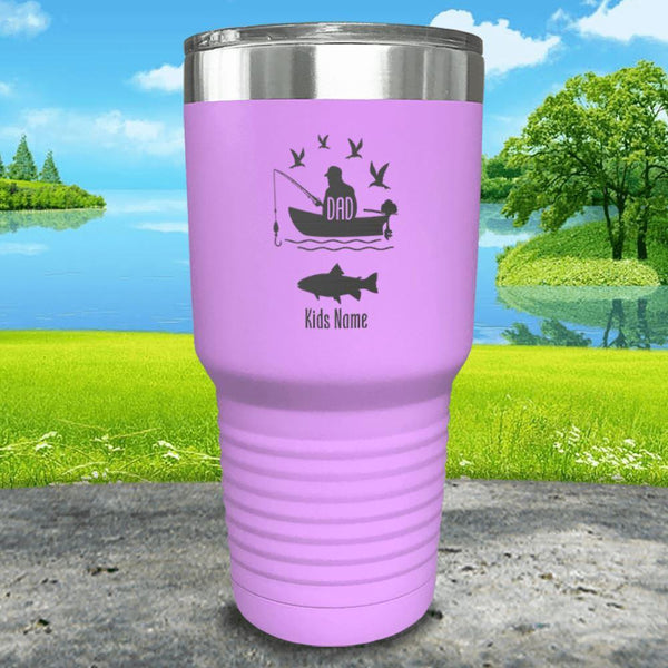 Fishing Dad (CUSTOM) With Child's Name Engraved Tumblers Tumbler ZLAZER 30oz Tumbler Lavender