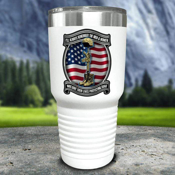 Veteran Always Remember Color Printed Tumblers Tumbler Nocturnal Coatings 30oz Tumbler White