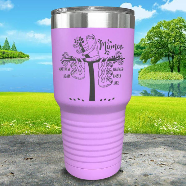 Sloth Mama (CUSTOM) With Child's Name Engraved Tumblers Tumbler ZLAZER 30oz Tumbler Lavender