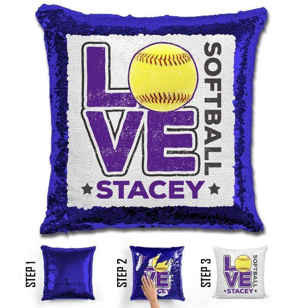 Personalized LOVE Softball Magic Sequin Pillow Pillow GLAM Blue Purple