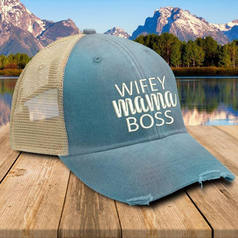 Wifey Mama Boss Trucker Hat Hat Edge Black