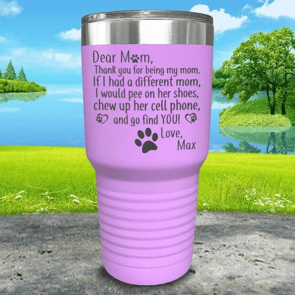 PERSONALIZED Dear Dog Mom Love Your Dog Engraved Tumbler Tumbler ZLAZER 30oz Tumbler Lavender