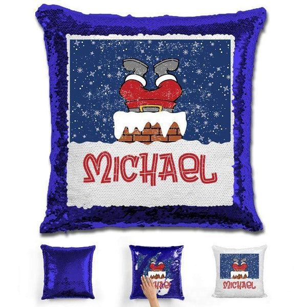 Personalized Santa Stuck In Chimney Christmas Magic Sequin Pillow Pillow GLAM Blue
