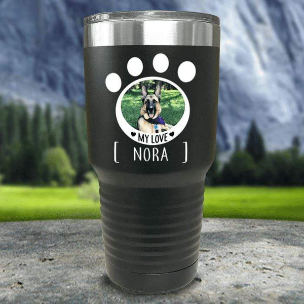 Personalized Pet Photo Color Printed Tumblers Tumbler Nocturnal Coatings 30oz Tumbler Black
