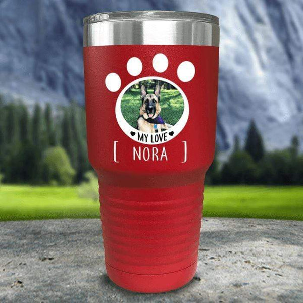 Personalized Pet Photo Color Printed Tumblers Tumbler Nocturnal Coatings 30oz Tumbler Red