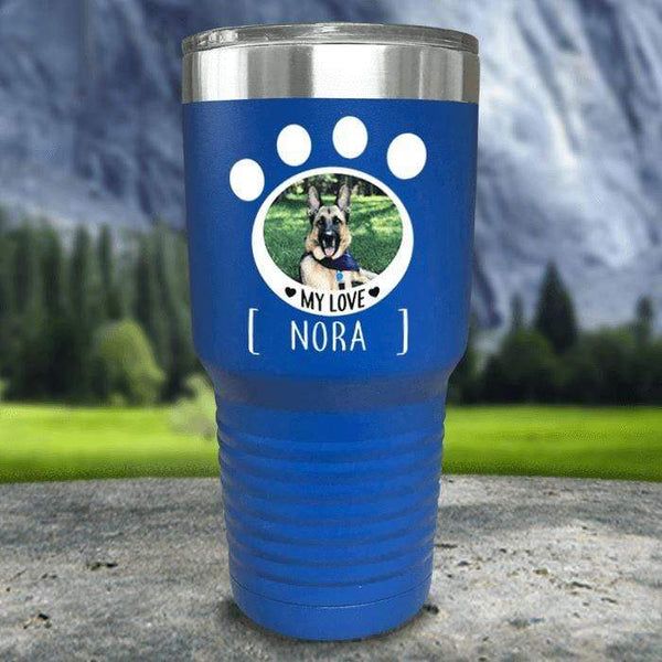 Personalized Pet Photo Color Printed Tumblers Tumbler Nocturnal Coatings 30oz Tumbler Blue