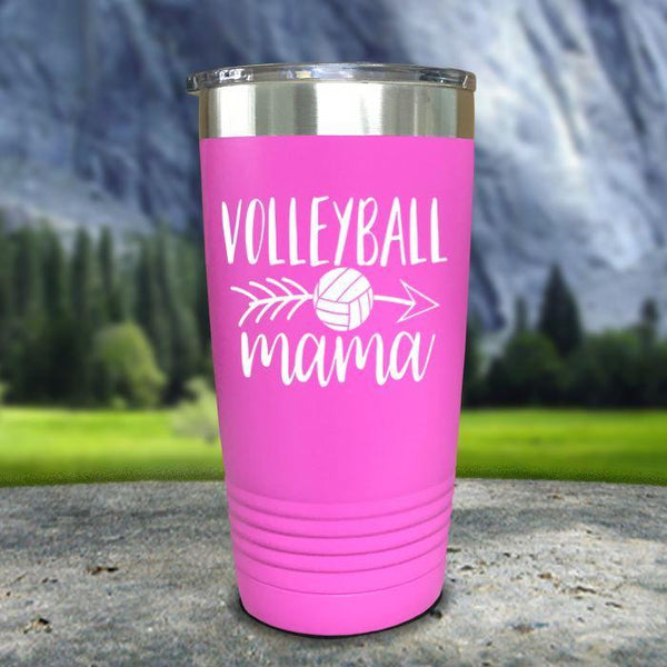 Volleyball Mama Color Printed Tumblers Tumbler Nocturnal Coatings 20oz Tumbler Pink