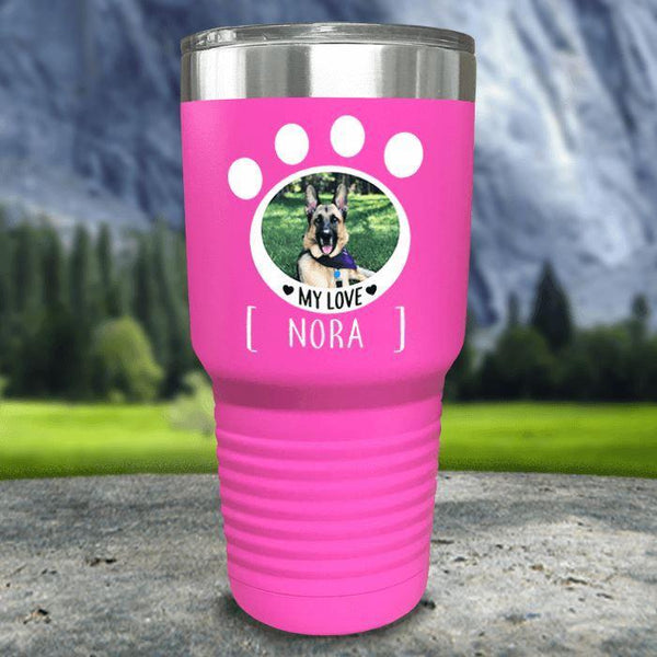 Personalized Pet Photo Color Printed Tumblers Tumbler Nocturnal Coatings 30oz Tumbler Pink
