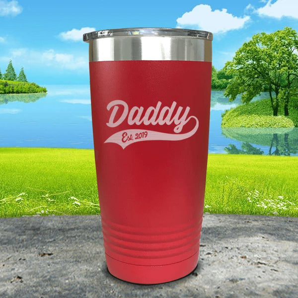 Daddy Est (CUSTOM) Engraved Tumbler Tumbler ZLAZER 20oz Tumbler Red