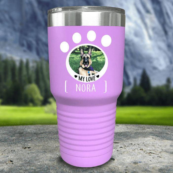 Personalized Pet Photo Color Printed Tumblers Tumbler Nocturnal Coatings 30oz Tumbler Lavender