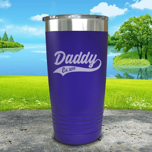 Daddy Est (CUSTOM) Engraved Tumbler Tumbler ZLAZER 20oz Tumbler Royal Purple