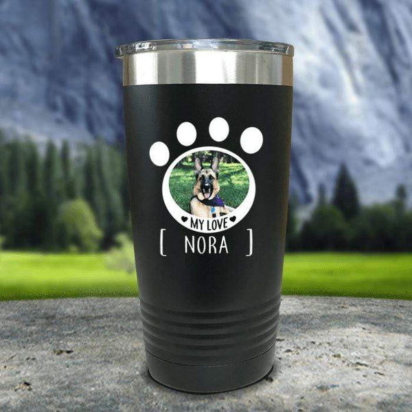 Personalized Pet Photo Color Printed Tumblers Tumbler Nocturnal Coatings 20oz Tumbler Black
