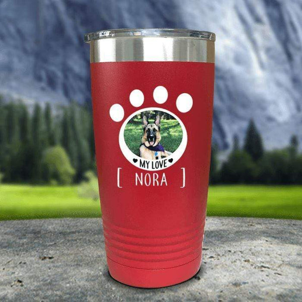 Personalized Pet Photo Color Printed Tumblers Tumbler Nocturnal Coatings 20oz Tumbler Red
