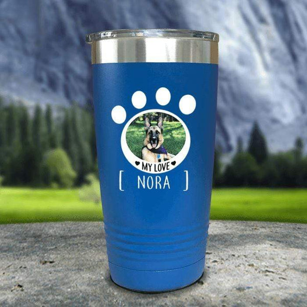 Personalized Pet Photo Color Printed Tumblers Tumbler Nocturnal Coatings 20oz Tumbler Blue