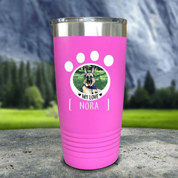 Personalized Pet Photo Color Printed Tumblers Tumbler Nocturnal Coatings 20oz Tumbler Pink
