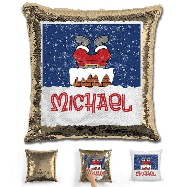 Personalized Santa Stuck In Chimney Christmas Magic Sequin Pillow Pillow GLAM Gold