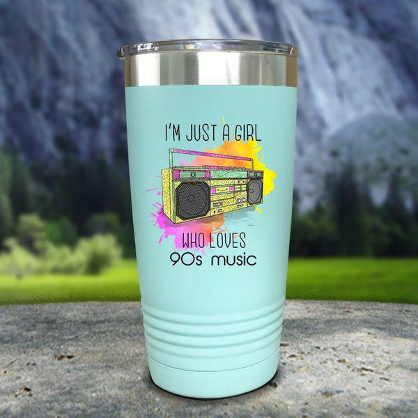A Girl Who Loves 90s Music Color Printed Tumblers Tumbler Nocturnal Coatings 20oz Tumbler Mint