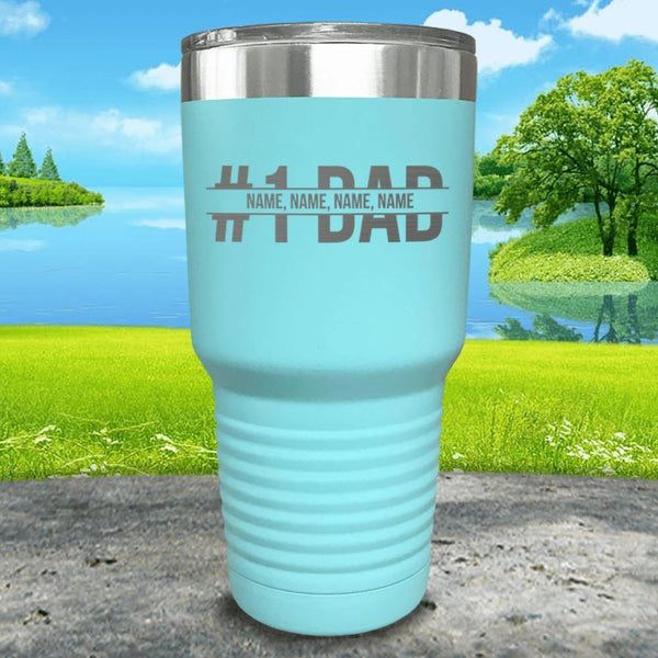 #1 Dad (CUSTOM) With Child's Name Engraved Tumbler Tumbler ZLAZER 30oz Tumbler Mint