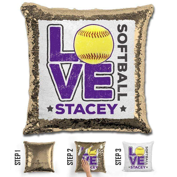Personalized LOVE Softball Magic Sequin Pillow Pillow GLAM Gold Purple