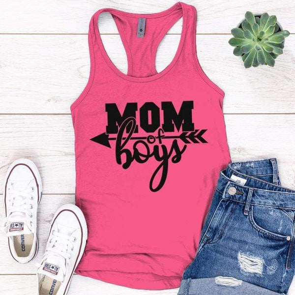 Mom Of The Boys Premium Tank Tops Apparel Edge Pink S