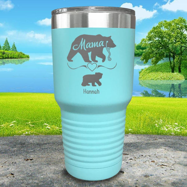 Mama Bear Nurse (CUSTOM) With Child's Name Engraved Tumblers Tumbler ZLAZER 30oz Tumbler Mint