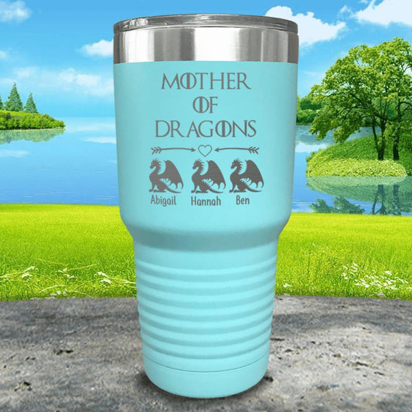 Mother Of Dragons (CUSTOM) With Child's Name Engraved Tumblers Tumbler ZLAZER 30oz Tumbler Mint