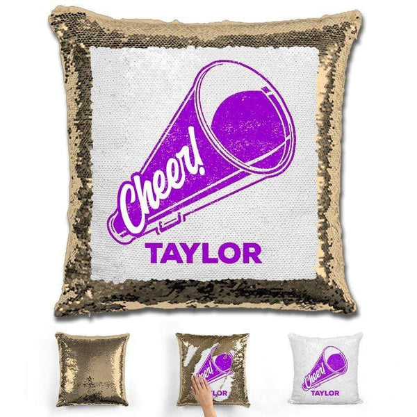 Cheerleader Personalized Magic Sequin Pillow Pillow GLAM Gold Purple