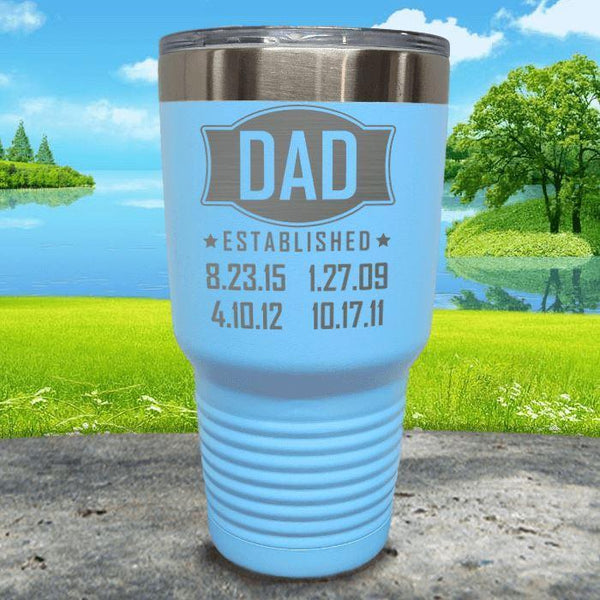 Dad Established CUSTOM Dates Engraved Tumblers Tumbler ZLAZER 30oz Tumbler Light Blue