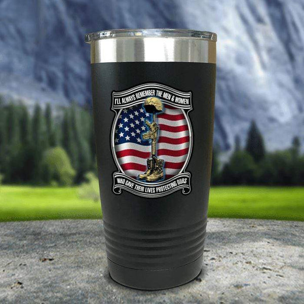 Veteran Always Remember Color Printed Tumblers Tumbler Nocturnal Coatings 20oz Tumbler Black