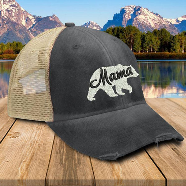 Mama Bear Premium Trucker Hat Hat Edge Black