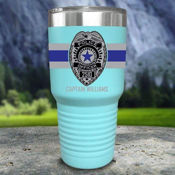 Personalized Police FULL Wrap Color Printed Tumblers Tumbler Nocturnal Coatings 30oz Tumbler Mint