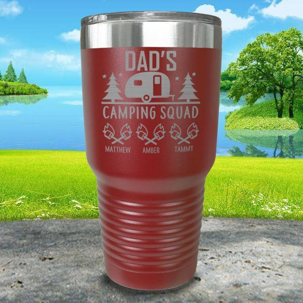 Dad's Camping Squad (CUSTOM) With Child's Name Engraved Tumblers Tumbler ZLAZER 30oz Tumbler Maroon