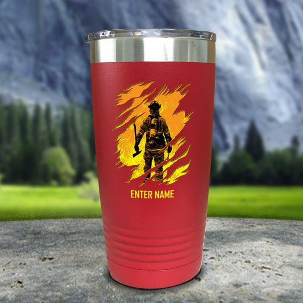 Personalized Into The Inferno Color Printed Tumblers Tumbler Nocturnal Coatings 20oz Tumbler Red